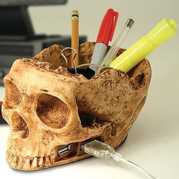 15 Coolest Skull Themed Gadgets | Walyou - USB hub and pencil holder, I love this (cool desk ideas pencil holders)
