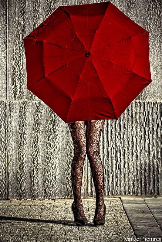 Ꮥ c a r l e t -- Red - Portrait - Umbrella - Black lace hosiery - Fashion - Photography
