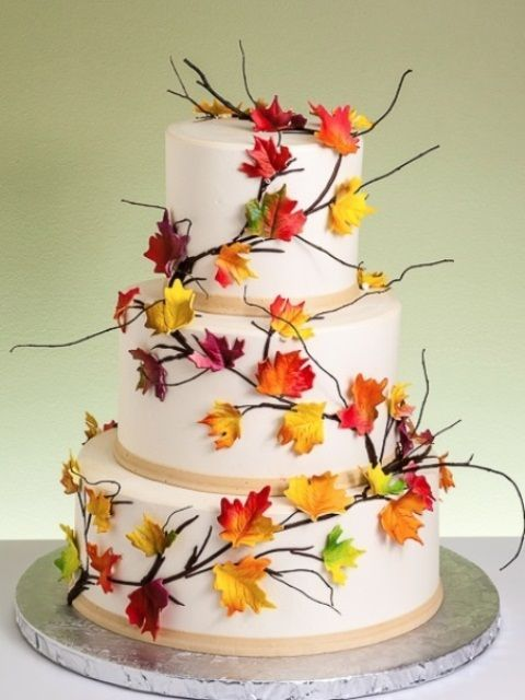 168 best fall cake decorating ideas images on pinterest for Autumn cake decoration