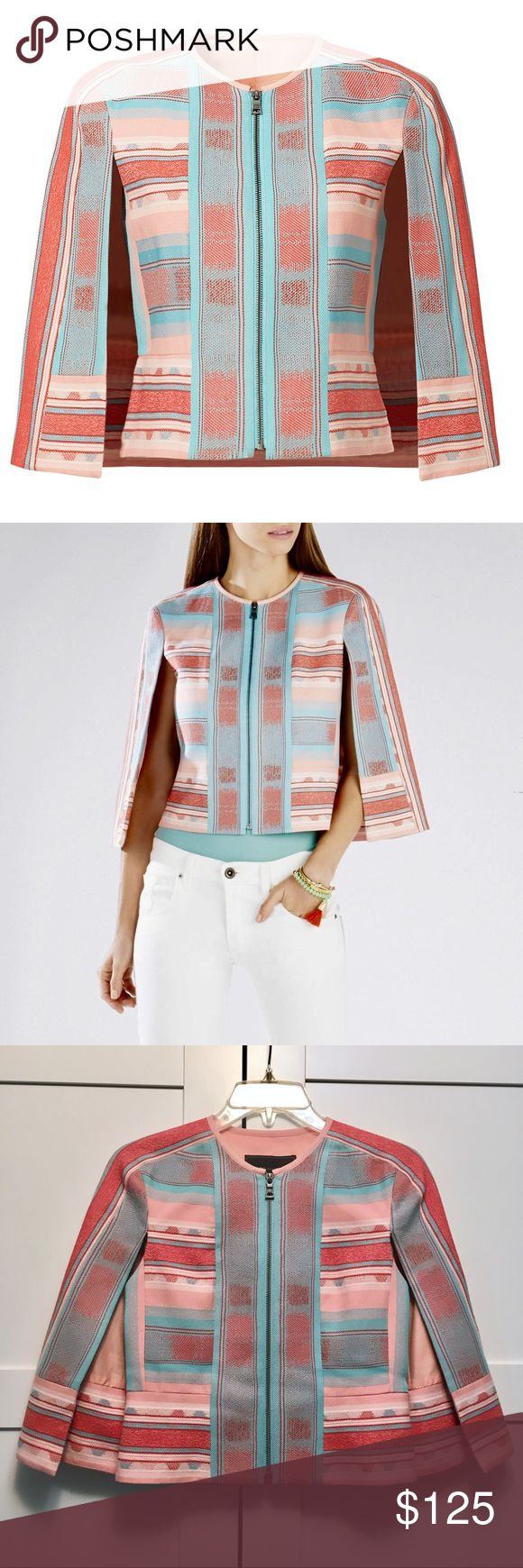"BCBG ""Zachary"" Cape Jacket Size XXS Absolutely stunning BCBG MaxAzria jacket, style ""Zachary"" with stitched southwestern pattern. Pastel colors - a peachy pink, mint/turquoise, and red for contrast. Poncho style with open cape sleeves. Fitted bodice with front zipper. Material: cotton + polyester jacquard. Size XXS, may fit XS too, see measurements in comments. Worn ONCE for a couple hours, excellent condition, has a teeny-tiny faint dot on collar (size of pinhole) that nobody can notice…"
