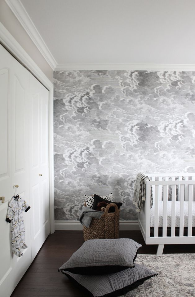 Marcus Design: One Room Challenge | Nursery Reveal | Spring 2016 great wallpaper for a nursery Cole and Sons Fornasetti Nuvolette