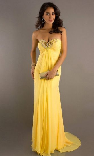 Chiffon A-line Strapless Empire Long Evening Dresses FSAU1409P801464 - formalsydney.com