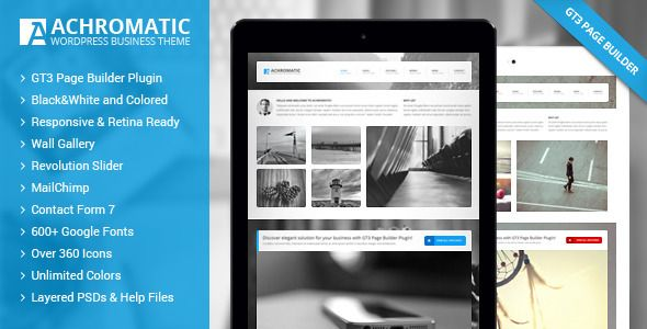 Achromatic #Business #WordPress Theme by mad_dog. Available on #ThemeForest. #webdesign #corporate #responsive #clean #event #marketing #modern #inspiration #template