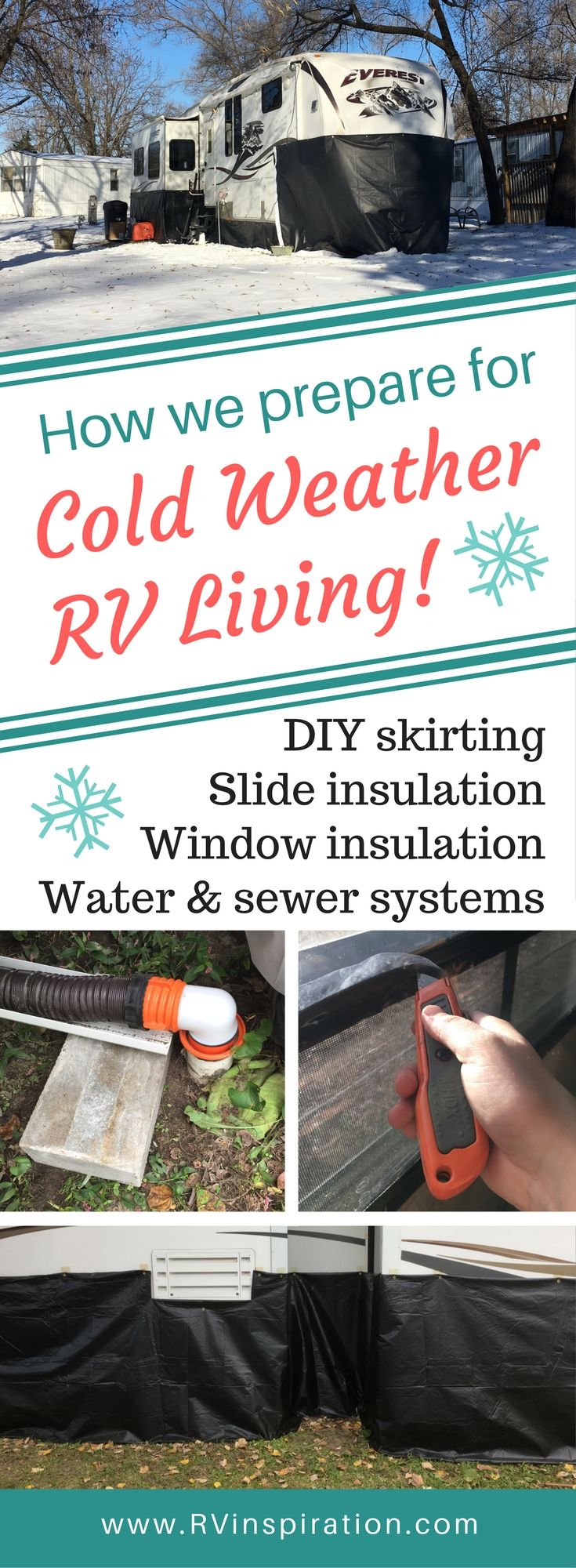 Strategies for Preparing for Cold Weather in the RV. Includes DIY skirting, window insulation, and water systems preventive maintenance.   North American RV Travel via RVInspiration.com