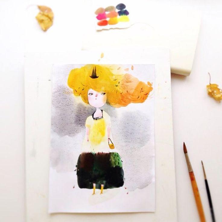 Странно, как в один прекрасный день вдруг приходит осень. Рэй Брэдбери  #teawithrosejam #mytable #autumn #ілюстрація #акварель #акварельнаяиллюстрация #watercolor #illustration #watercolorillustration