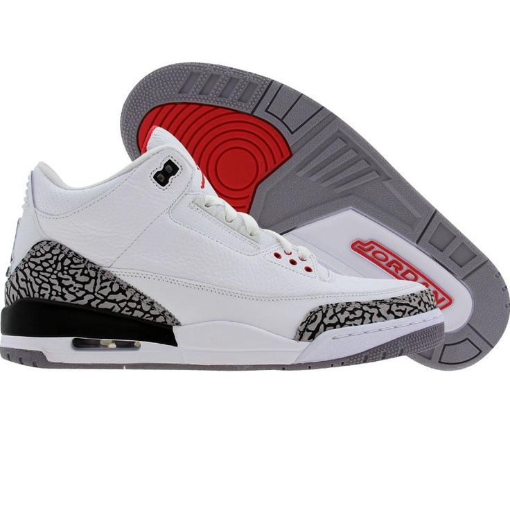 Big Size Air Jordan 3 Retro WhiteCement GreyFire Red Online