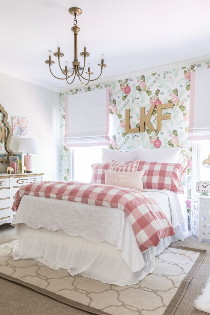girls bedroom wallpaper ideas. Big girl room reveal with floral wallpaper  gingham bedding and glam pink gold accessories Best 25 Wallpaper for girls ideas on Pinterest
