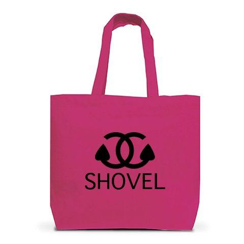 硬級ブランドシャベル トートバッグL(ホットピンク):シャネルのパロディですbyち畳工房:ちょっと笑えるパロディとシャム猫がモチーフの商品です