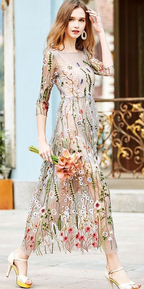 Grey Floral Embroidered Two Piece Dress