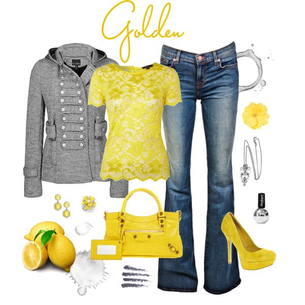 yellow: Shoes, Lace Tops, Yellow Shirts, Color Combos, Dream Closet, Outfit, Jackets, Coats, Lemon