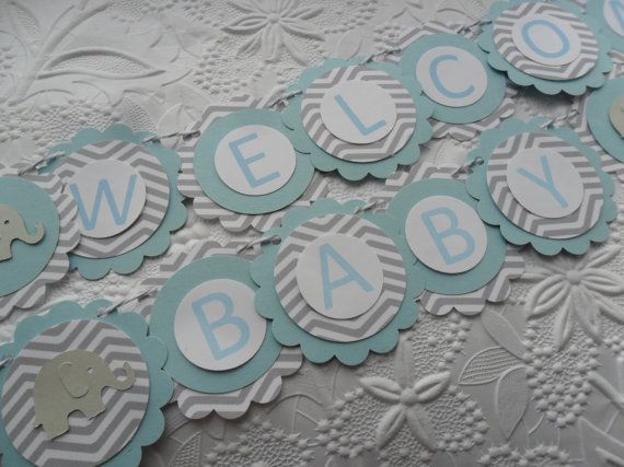 Elephant Welcome Baby Shower Banner Light by WithLovebyTwoSisters, $15.00 @Sheri | Pork Cracklins Ward