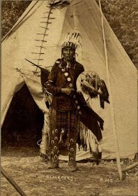 Native American Indian Pictures: Blackfoot/Blackfeet Indian Tipis Blackfoot/Blackfeet Indian photographed in front of his tipi in 1898.