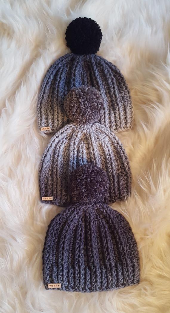 0aa880f3634 Beanie Ribbed Beanie Ombre Gray Beanie Pom Pom Beanie Skull Cap Ski Hat Winter  Hat