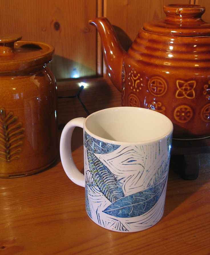 Blue Days of Winter Leaves Mug