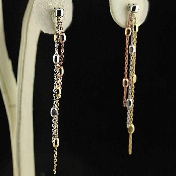 Drop Dangle 3 Chain Long Earrings ITALY 925 Sterling Silver 3 Tone
