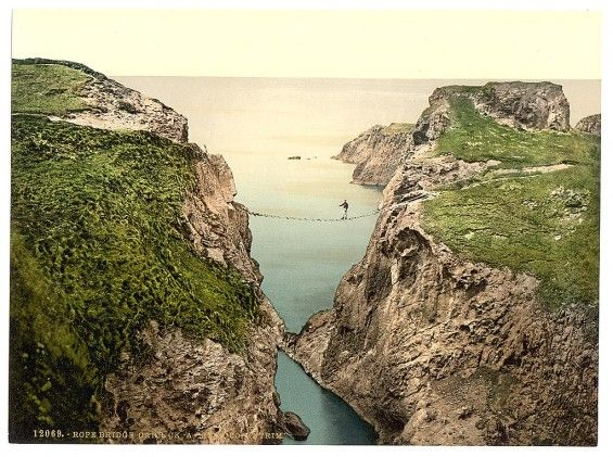 Carrick-a-Rede Rope Bridge.  Vintage pictures of Ireland taken between 1890 and 1900, courtesy of the Library of Congress.