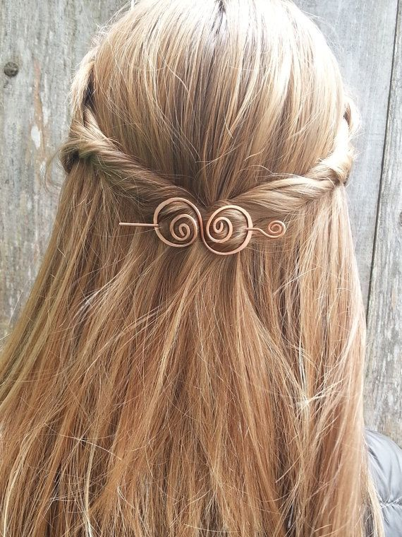 Hair barrette copper hair bow spiral hair clip. wire by Kapelika