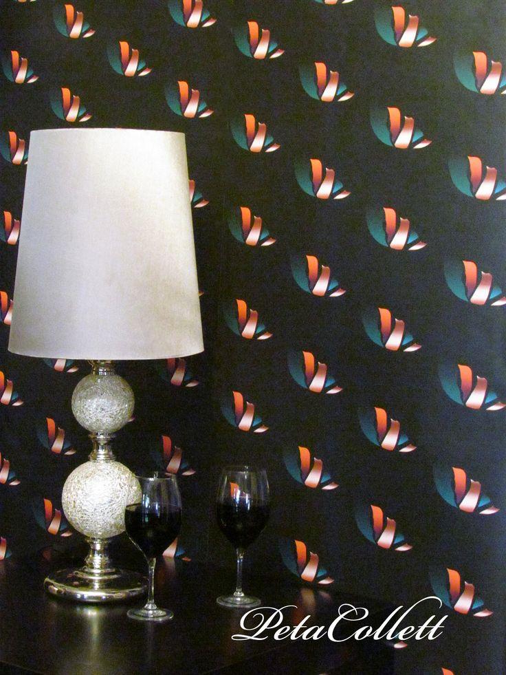 Sleek, Autumn poppy wallaper design,  styling and design Peta Collett