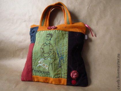 сумка `Фрида`. горький шоколад и сочный апельсин, распускаются бархатные розы и каллы, Фрида ждет Диего...  уютная сумка-портфель с застежкой на молнию; подклад в полоску, внутри - карман для…