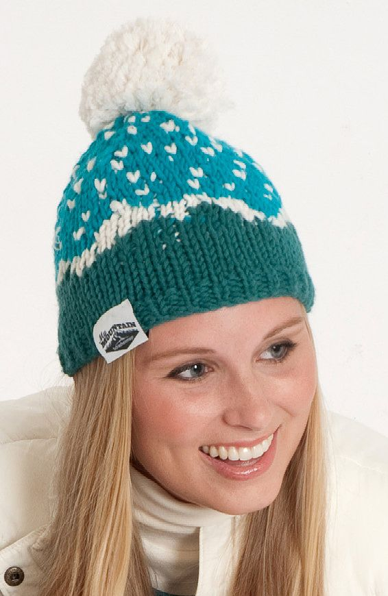 be8ab37f565 Free Knitting Pattern for Mountain High Hat - This beanie features a fair  isle snow-capped mountain range with falling snow or stars topped with a  snowball ...
