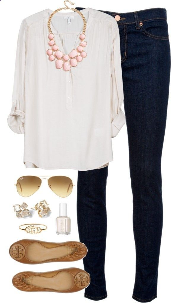 Love white, feminine tops with a little color pop with the necklace.