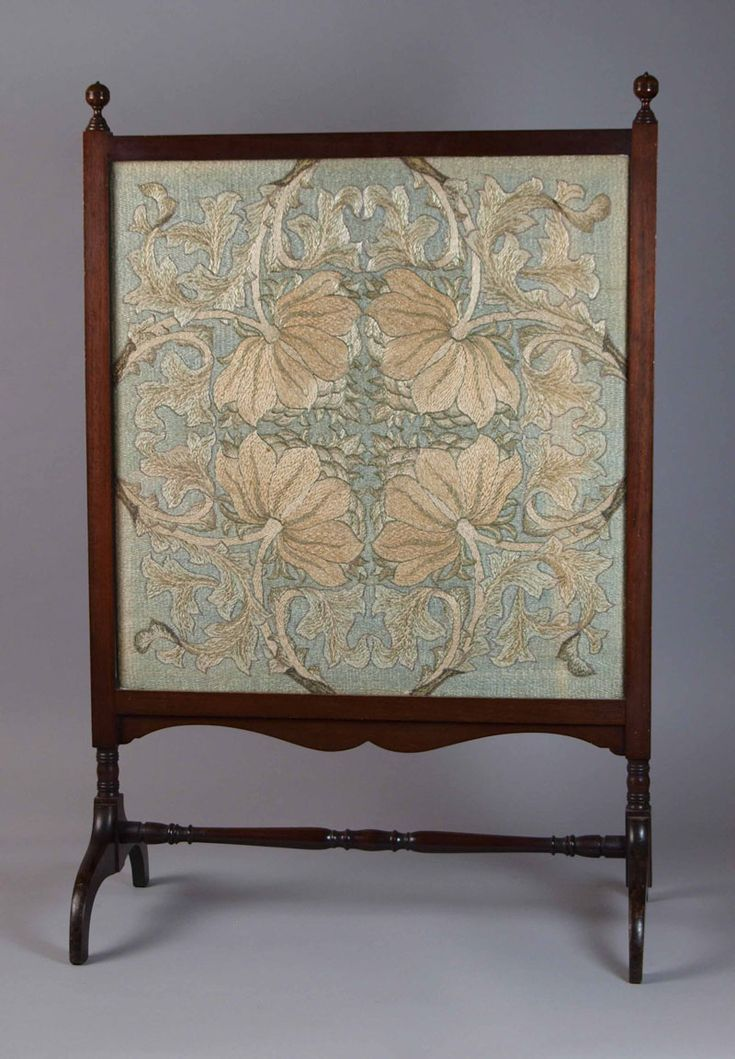 """William Morris (1834-1896) - Morris and Company - Embroidered Fire Screen. Turned Wood with Embroidered Screen. Circa 1880. 34"""" x 22""""."""