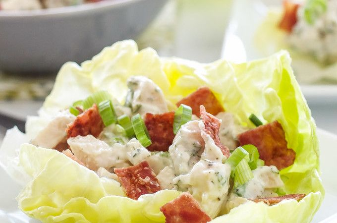 Chicken, Bacon, Ranch Lettuce Cups |Lightened up chicken salad flavored with crisp bacon and a healthy ranch dressing! need chicken? https://www.zayconfresh.com/campaign/30