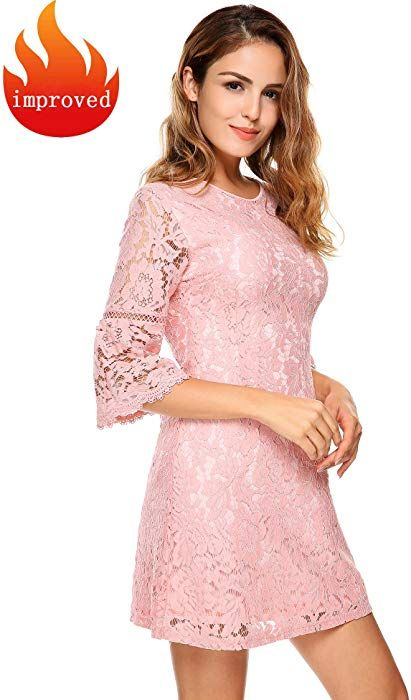 e2646e1e FineFolk Women Peter Pan Collar Short Sleeve Floral Lace Button Front  Casual Fit Party Midi Dress at Amazon Women's Clothing store: