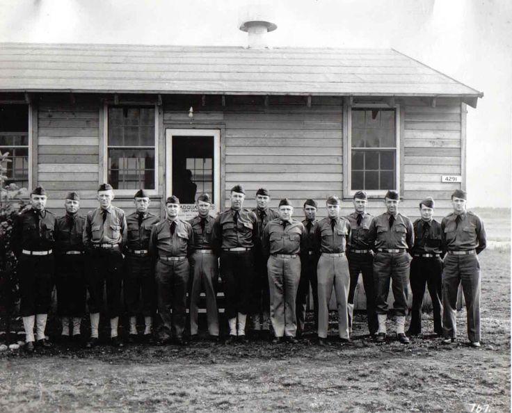 Officers of the 194th Tank Battalion at Fort Lewis, Washington.  From the left: Major Ernest Miller, Capt. Clinton Quinlen+, Captain Charles Canby+, Capt. Fred Moffitt, Capt. Bowen*, Capt. Turner*, Capt. John Muir, Lt. Edward Burke, Capt. Hathaway, Lt. Frank Riley, Capt. Ferris Spoor, Lt. Ray Bradford+, Capt. Lymon Johnson, Lt. Arthur Root+, and Lt. Peterson*.