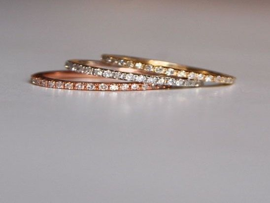 Skinny and stackable eternity diamond wedding band 14k WHITE or ROSE or YELLOW gold.