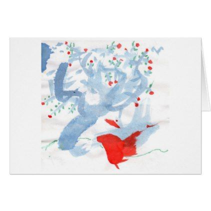 Red bird & red-berried tree note card (greeting) - diy cyo personalize design idea new special custom