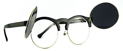 Flippin' Clubmaster Sunglasses - 125 Black #roundsunglasses #flipupsunglasses #flipupglasses