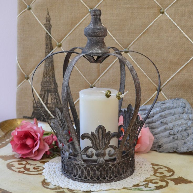 Large Distressed Crown Candleholder in Grey $26.00 #french #thebellacottage #candleholder