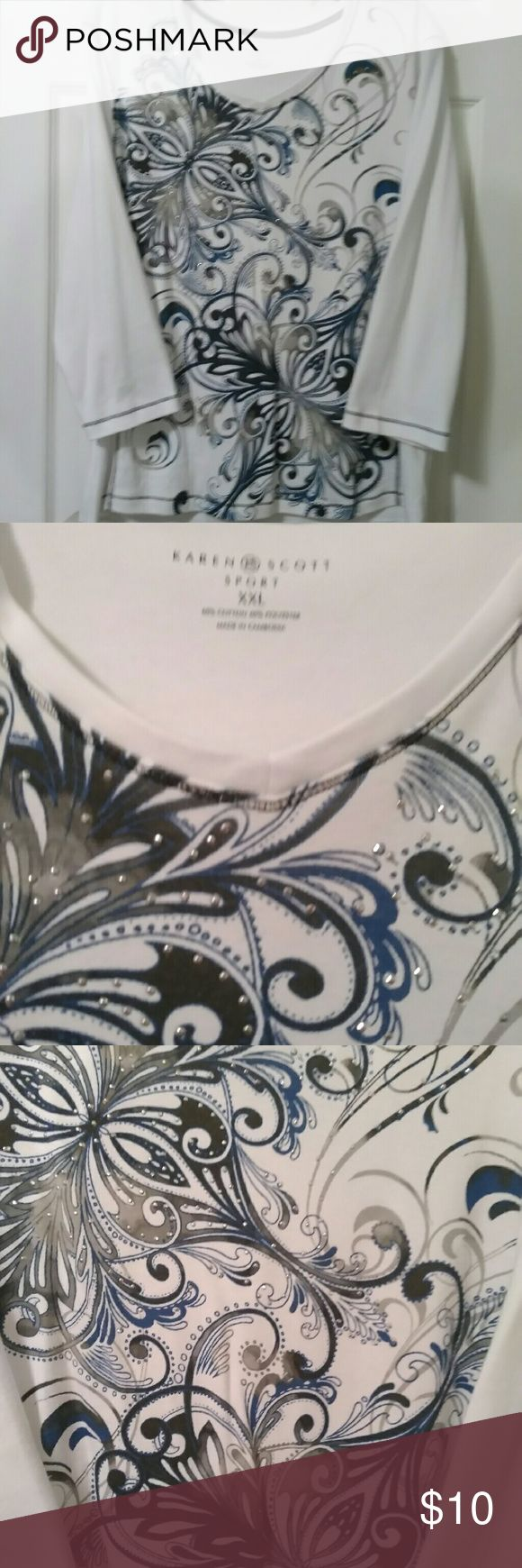 CLEARANCE!!!  Karen Scott Sport Top Swirling design with a touch of bling. Blues, grays and black in a white back ground. Chest is 23 inches. Like new, 3/4 sleeves. Karen Scott Sport Tops Blouses