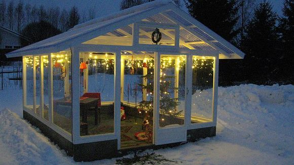 Self-made Greenhouse with Christmas Decorations in Liperi, Finland.