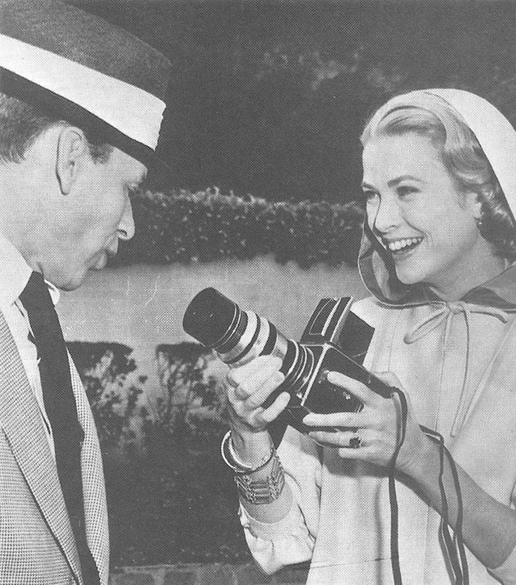 Grace Kelly and Frank Sinatra on the set of High Society (1956)