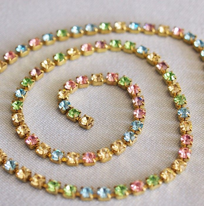 sparkling crystal rhinestone chain or trim, you can buy the perfect amount for your project by the foot, rhinestone chain, pastel multi - by Starzyia on Craftumi