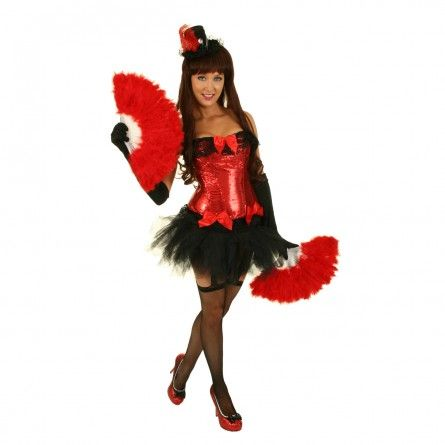 Womens Red Sequins Burlesque Costume