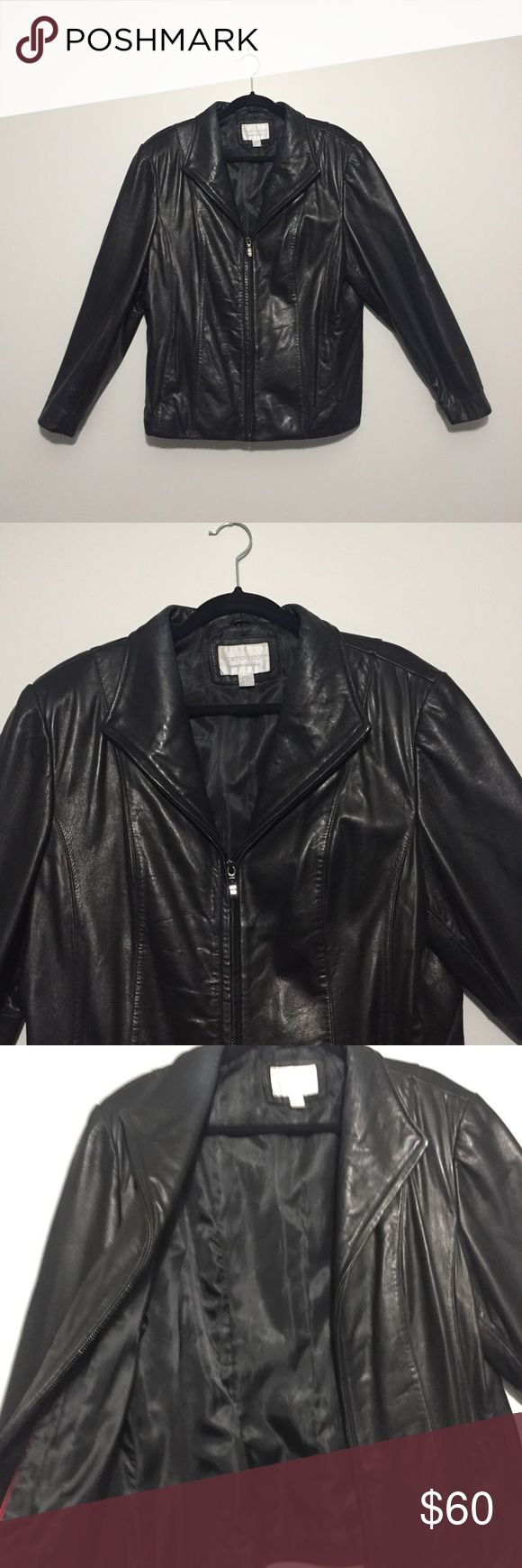 Genuine Lambskin Leather Jacket Beautiful genuine leather jacket. So soft and classy. Only wear on this jacket is around the collar (see picture). Everything else in perfect condition. Zipper works great and has pockets. This is a very high quality piece and very expensive new. Offers are welcome! Worthington Jackets & Coats