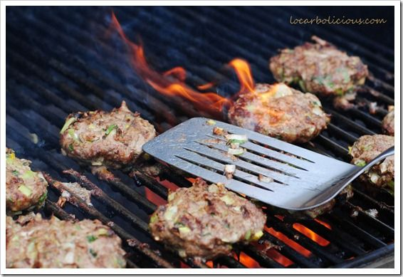 Grilling Delicious Burgers filled with vegetables
