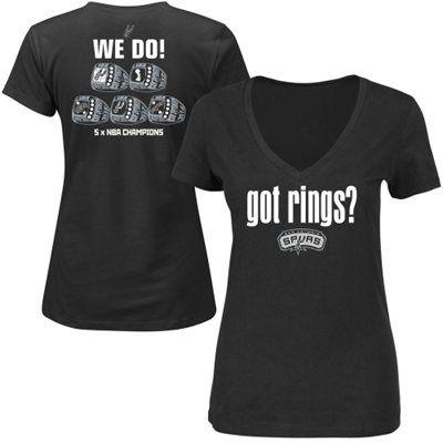 San Antonio Spurs Majestic Women's 2014 NBA Finals Champions Got Rings T-Shirt - Black