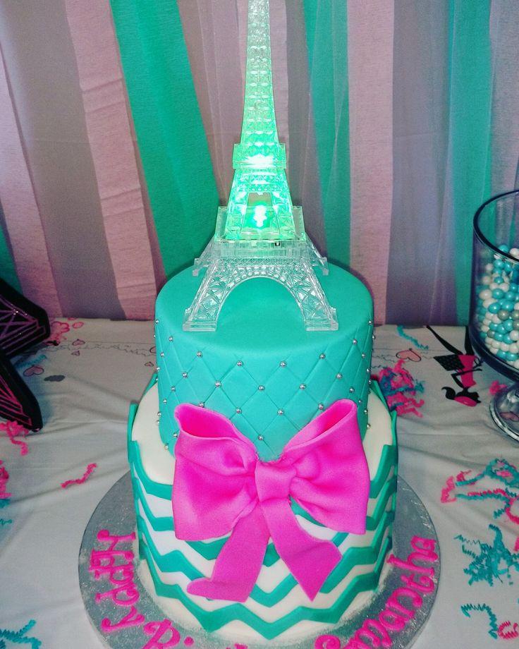 Little girls chevron, teal, pink, Paris birthday cake