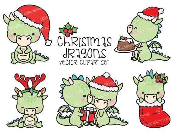 Premium Vector Clipart Kawaii Christmas Dragons Cute Christmas Dragons Clipart Set High Quality Vectors Kawaii Christmas Clipart In 2021 Christmas Dragon Kawaii Christmas Christmas Drawing