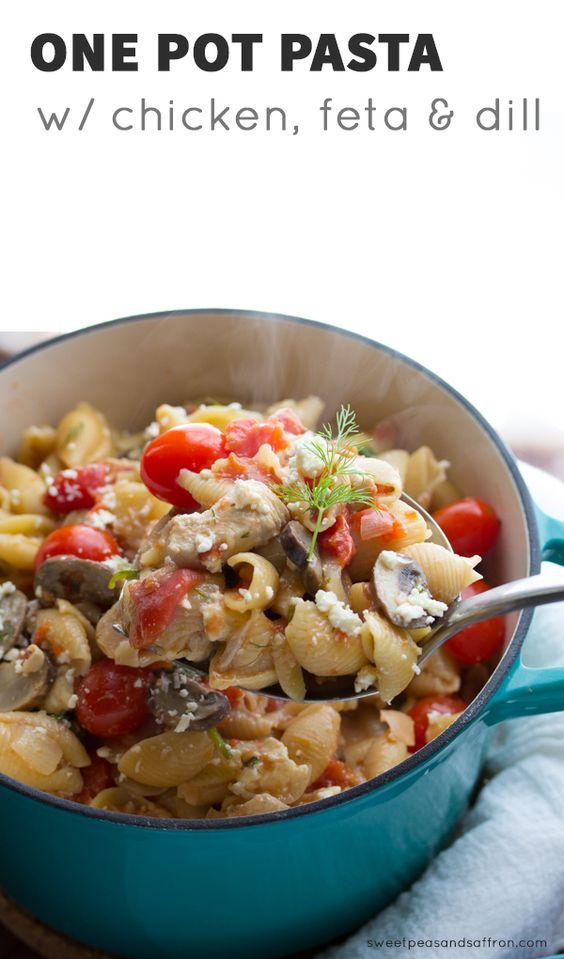One Pot Pasta with Chicken, Feta & Dill @sweetpeasaffron