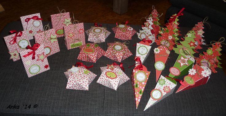 Hier habe ich verschiedene Schachtel als kleine Geschenkverpackungen im weihnachtlichen Design gestaltet.