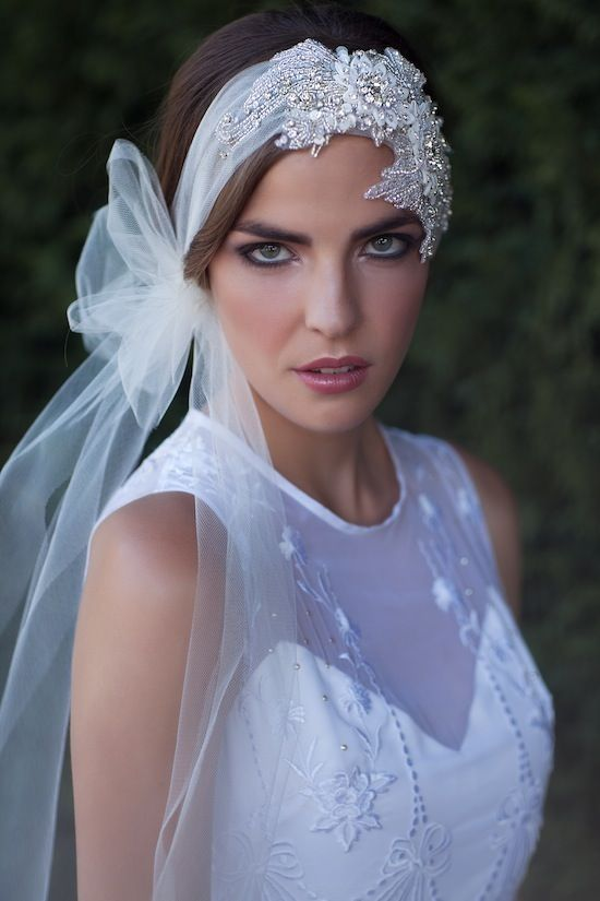 ISABELLA | Bridal beaded tulle headpiece | Percy Handmade