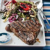 Grilled Porterhouse Steak with Summer Vegetables, Recipe from Cooking.com
