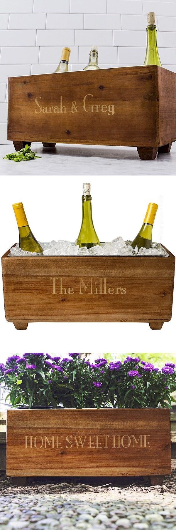 A unique home decor gift idea for the wine lover in your wedding party, this rustic wood wine trough custom printed with a name or short phrase in gold block lettering is sure to be treasured by your maid of honor, bridesmaid, mom, sister or best friend. This wine trough can hold three to four bottles of wine for entertaining guests, relaxing in the house, on the deck or at the pool. This gift can be ordered at…