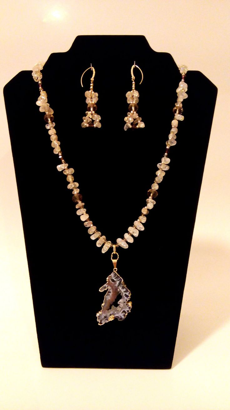 Necklace Earrings set. Druzy agate GP pendant.Crackle Crystal Nugget beige beads.Czech Crystal Beads Elements. Necklace earrings Set. by GECHELINE on Etsy