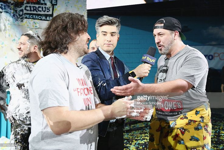 Brian Quinn, Casey Jost and Joey Fatone speak during the Impractical Jokers Live: Nitro Circus Spectacular at Prudential Center on November 3, 2016 in Newark, New Jersey. 26485_003_1296.JPG